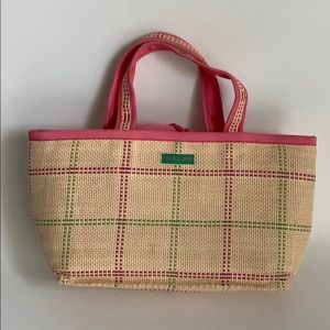 Small, straw, pink/green tote.